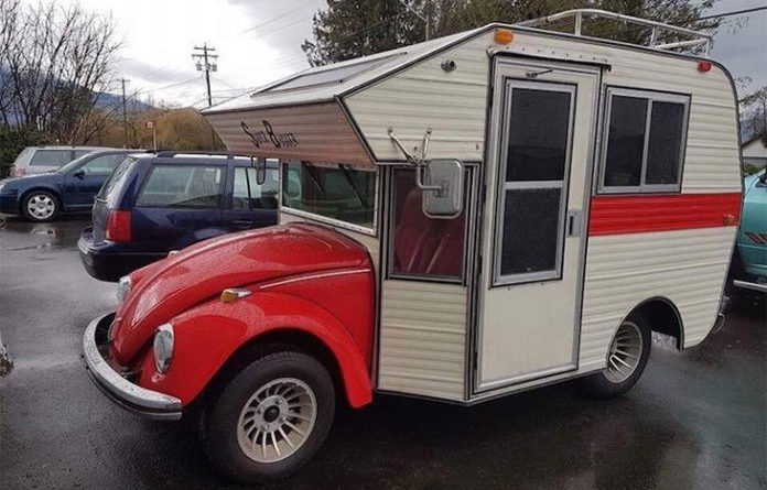 "1970s Volkswagen Beetles Converted into RV Hybrids Called ""Bug Campers"""