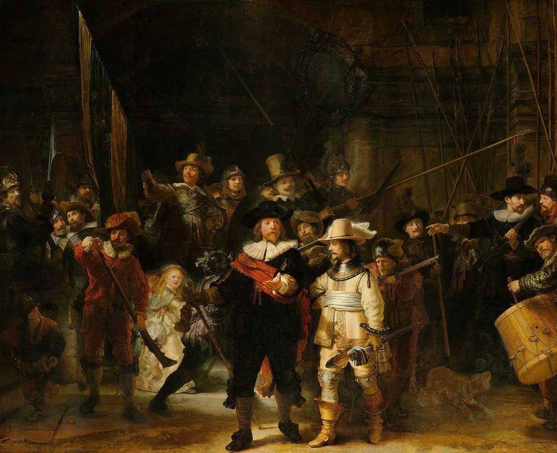 Rembrandt van Rijn's The Night Watch (1642) at Rijksmuseum, Amsterdam