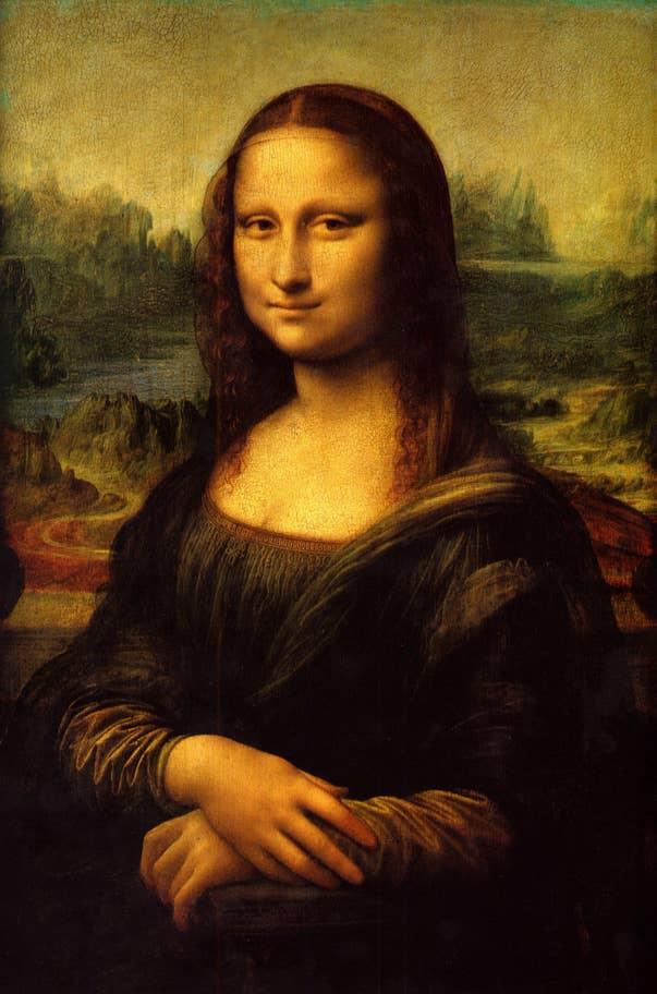 Leonardo da Vinci's Mona Lisa (c.1503) at The Louvre, Paris