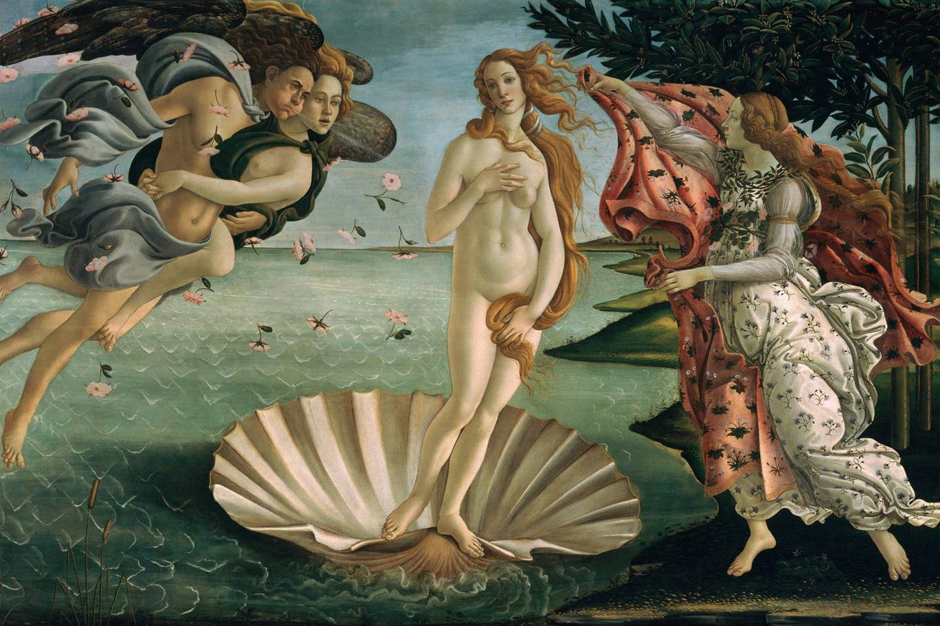Sandro Botticelli's The Birth of Venus (1485-1486) at the Uffizi Gallery, Florence
