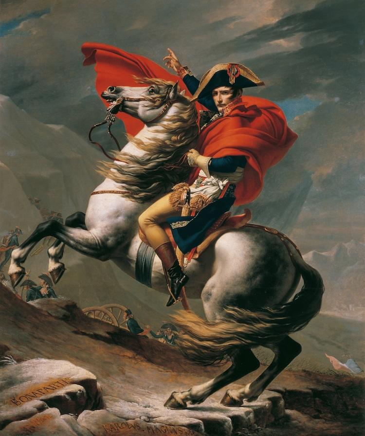 "Jacques-Louis David, ""Napoleon Crossing the Alps,"" 1801 (Photo: Wikimedia Commons Public Domain)"