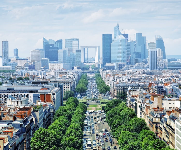 La Grande Arch as seen from the top of the Arc de Triomphe Stock Photos from r.nagy/Shutterstock