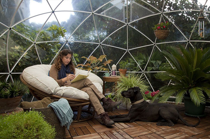 The tent is made out of completely recyclable materials and it's unique transparent design lets you relax while looking at the sky day and night.