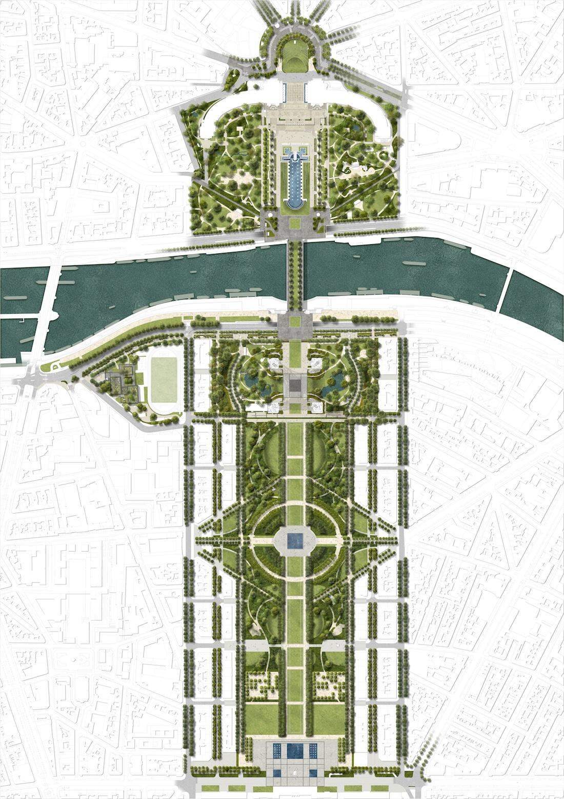 © GP+B – Site Tour Eiffel – Vue aérienne
