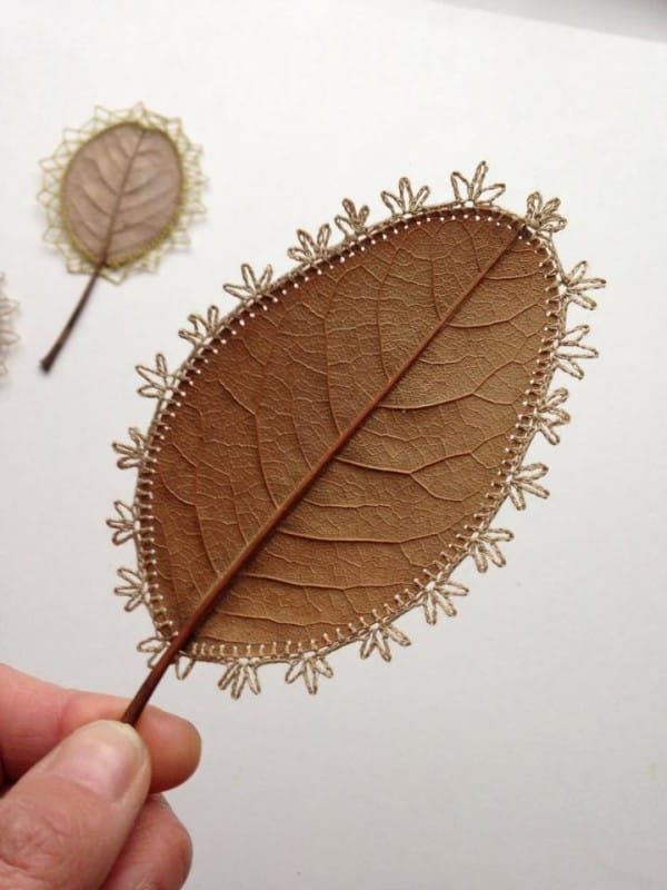 But that doesn't stop her from experimenting. Sometimes, she cuts the leaves up and reassembles them into new and unusual shapes, like these disk shapes that look like tiny tambourines.