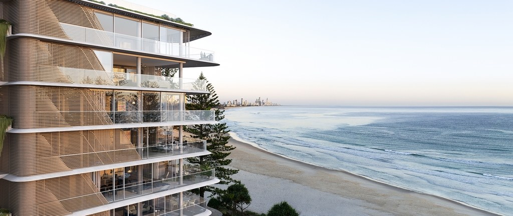 Norfolk Burleigh Heads, seen here, mimics the structure of nearby pine trees. Photo: Courtesy of Koichi Takada Architects