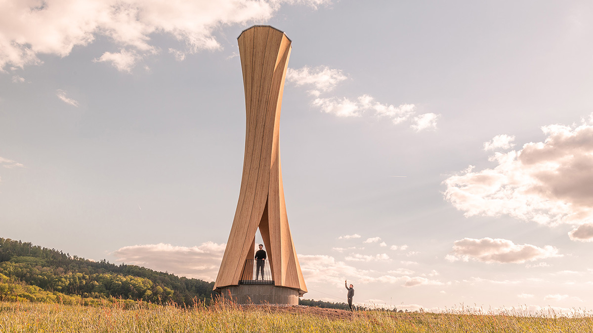 Urbach Tower Made of Self-Shaping Wood