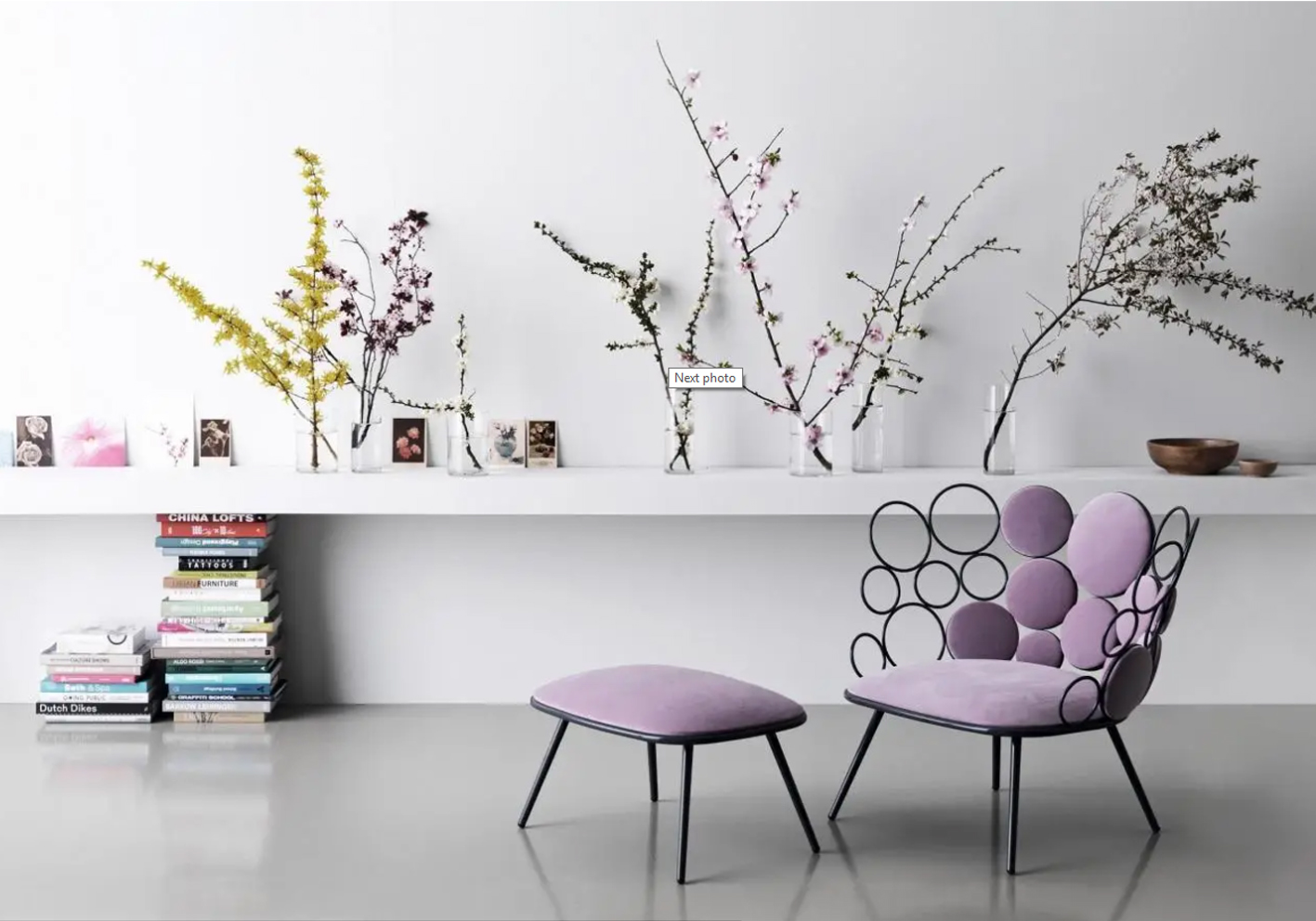 Saba Italia's Grace chair's bubbly personality is characterised by clusters of metal rings and cushioned spheres. It's available in a wide choice of colours including a dozen garden-friendly fabrics.