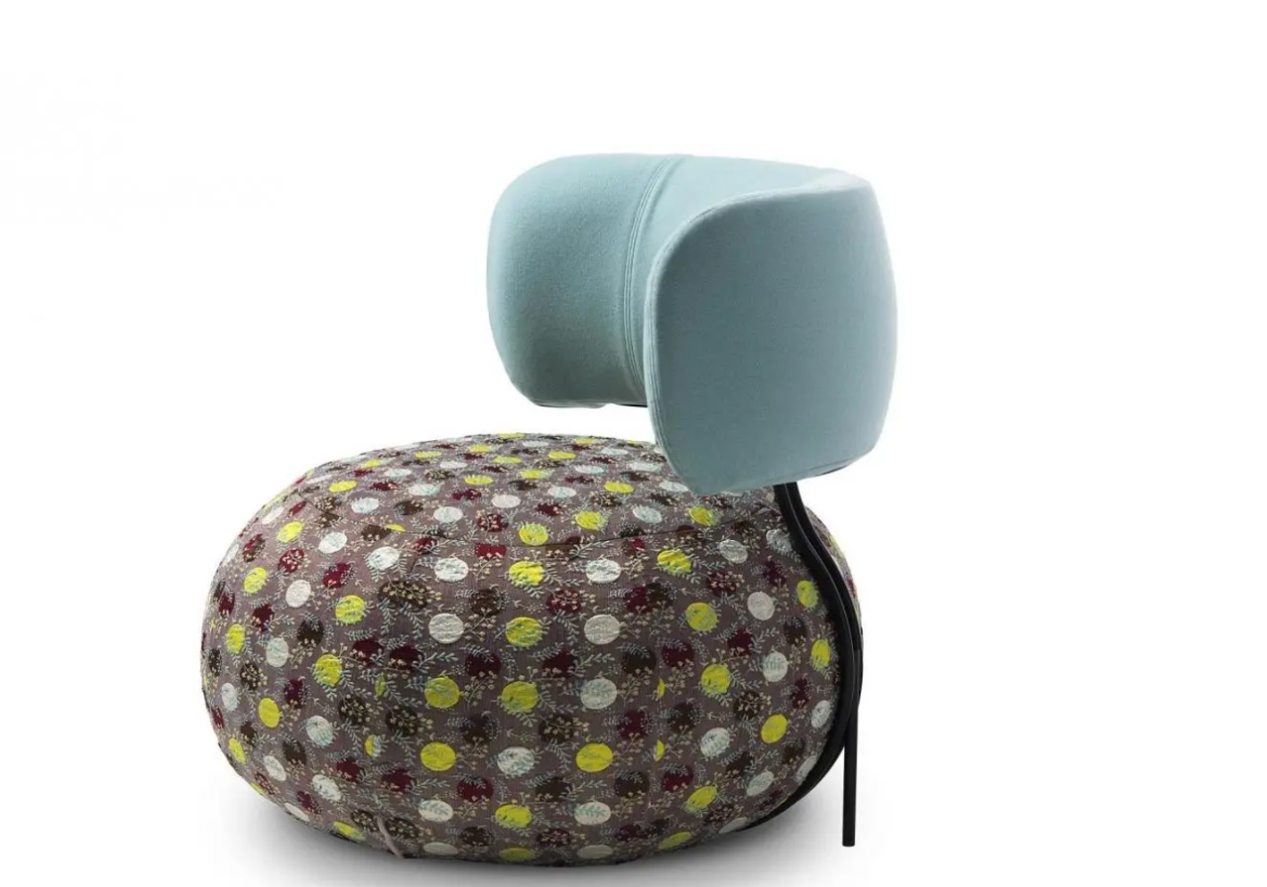 Just as characterful is Saba Italia's Baby Geo, a wholly rounded seat with an internal metal-rod structure that supports a comfortably curved, padded backrest.