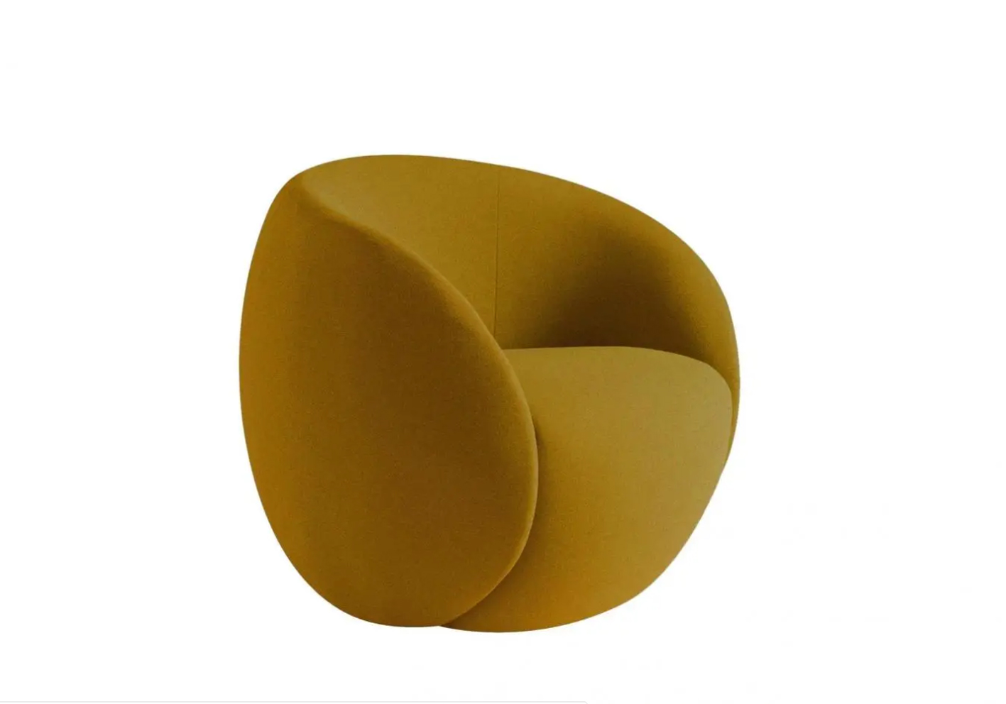 "Dot - a neat, rounded chair on a swivel base designed by Raphael Navot for Roche Bobois' Nativ collection - is upholstered in stretchy ""Lasti"" fabric and available in yellow, blue or dark green plus grey."