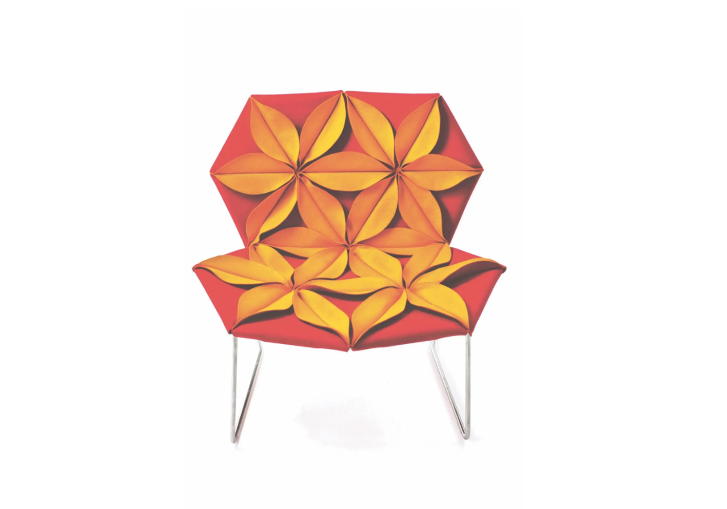 """Equally alluring is Moroso's flamboyantly flowery Antibodi armchair. Its """"petals"""" are made from double-sided materials — felt/baize or baize/leather — to create structural upholstery fixed to a stainless-steel frame."""